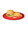 fingerchips and burger vector image vector image