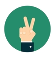 Hand giving a peace sign vector image