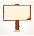Wooden Sign with Paper Sheet on White Background vector image vector image