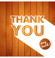Thank you card with typography on a wooden vector image