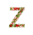 christmas floral tree letter Z vector image vector image