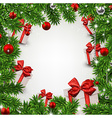 Christmas frame with fir branches and gift boxes vector image