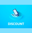 discount isometric icon isolated on color vector image