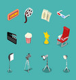 isometric cinema icons with film reel glasses vector image