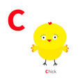 Letter C Chick bird Zoo alphabet English abc with vector image