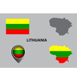 Map of Lithuania and symbol vector image