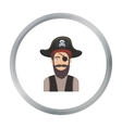 Pirate with eye patch icon in cartoon style vector image