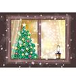 winter christmas tree house vector image