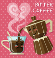 crying coffee cup and Italian coffee maker vector image