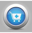 blue button - shopping cart back vector image