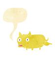 cartoon little dog cocking leg with speech bubble vector image