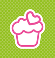 Card with a cream cake with pink heart shape vector image
