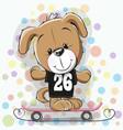 cute cartoon puppy with skateboard vector image