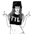 rap swag girl vector image