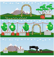 set of outdoors wedding scenery posters in vector image