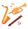 musical instruments set on white with note signs vector image vector image