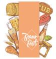 Beer festival hand drawn menu poster vector image