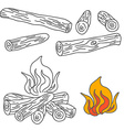 Set of Firewood and Campfire vector image