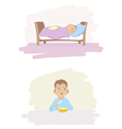 a child sleeping and eating vector image