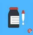 bottle with dropper icon flat design style vector image