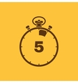 The 5 seconds minutes stopwatch icon Clock and vector image