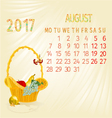 Calendar August 2017 fruit in a wicker basket vector image