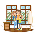 Family members in the house vector image