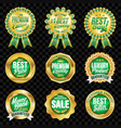 set of excellent quality green badges with gold vector image