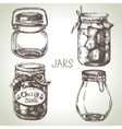 Rustic mason and canning jars hand drawn set vector image vector image