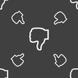 Dislike icon sign Seamless pattern on a gray vector image