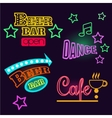 Neon Signs of Cafe Beer and Bar Isolated vector image