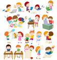 Children doing activities at school vector image