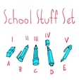 cartoon flat school set icon stickers vector image