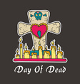 Day of deadGrave candles with heart and skull vector image