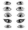 Doodle facial features eyes vector image