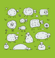 funny sheeps sketch for your design vector image