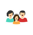happy family portrait view flat cartoon vector image