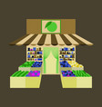 local fruit and vegetables store building vector image