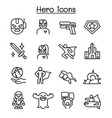 super hero icon set in thin line style vector image