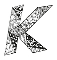 Vintage monogram K Doodle alphabet character with vector image