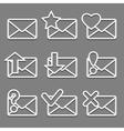 Mail envelope web icons set on dark background vector image vector image