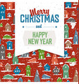 Merry Christmas VIntage Tag Design On Planks vector image vector image