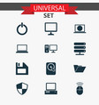 laptop icons set collection of diskette hdd web vector image