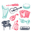 musical instruments - of hand drawn vector image