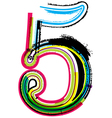 Grunge colorful font Number 5 vector image vector image
