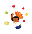 hen turkey surrounded by apples and vegetables vector image