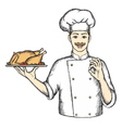 Chef with Turkey the hand drawing vector image