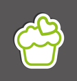Card with a cream cake with green heart shape vector image