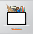 Back to school and supplies stationery vector image