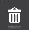 trash bin premium icon white on dark background vector image
